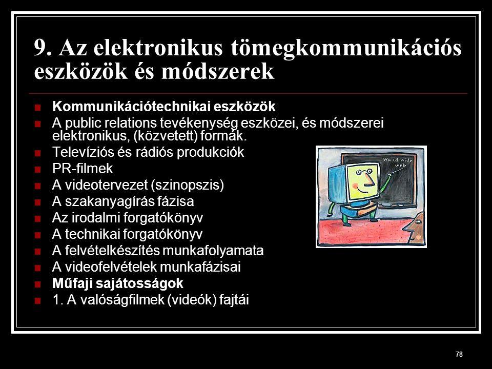 9. Az elektronikus tömegkommunikációs eszközök és módszerek