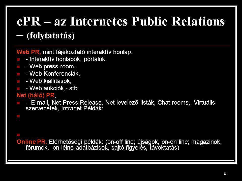 ePR – az Internetes Public Relations – (folytatatás)