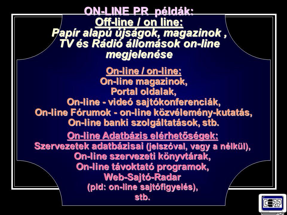 ON-LINE PR példák: Off-line / on line: Papír alapú újságok, magazinok , TV és Rádió állomások on-line megjelenése