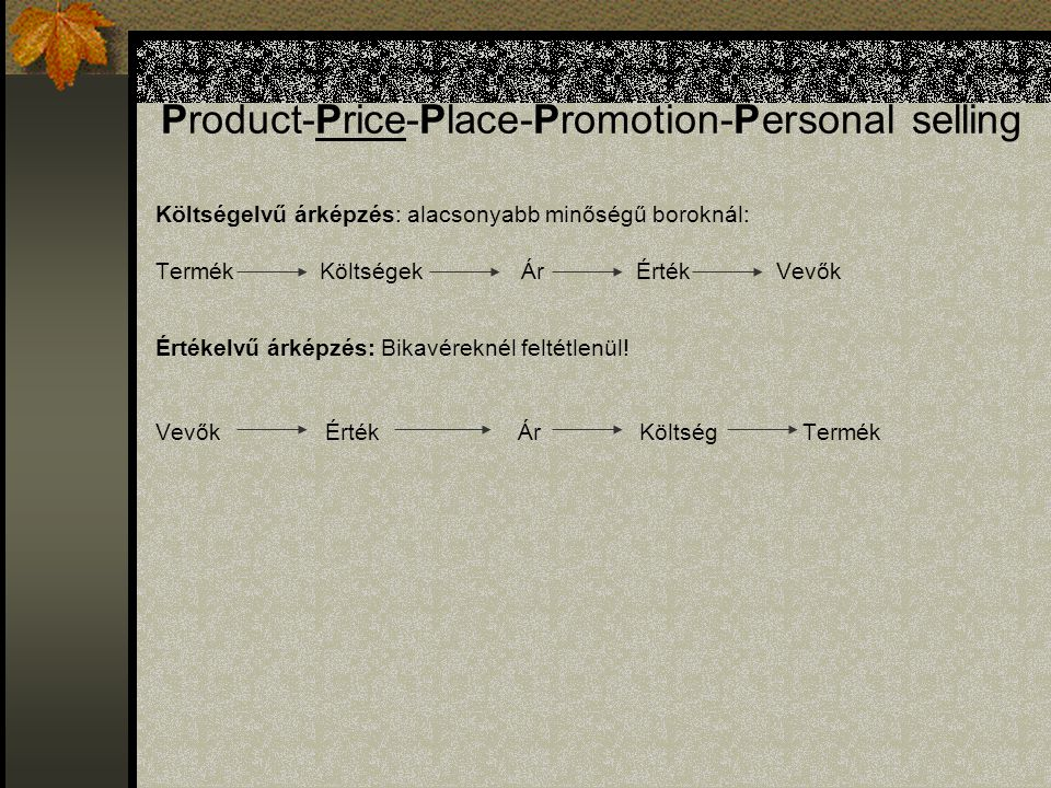 Product-Price-Place-Promotion-Personal selling