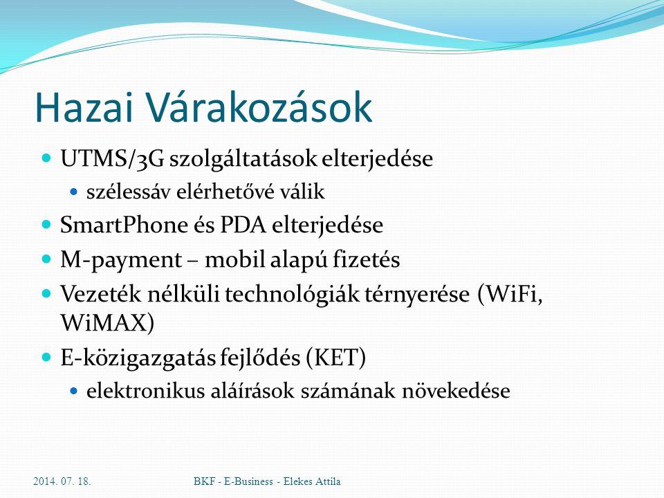 Hazai Várakozások UTMS/3G szolgáltatások elterjedése