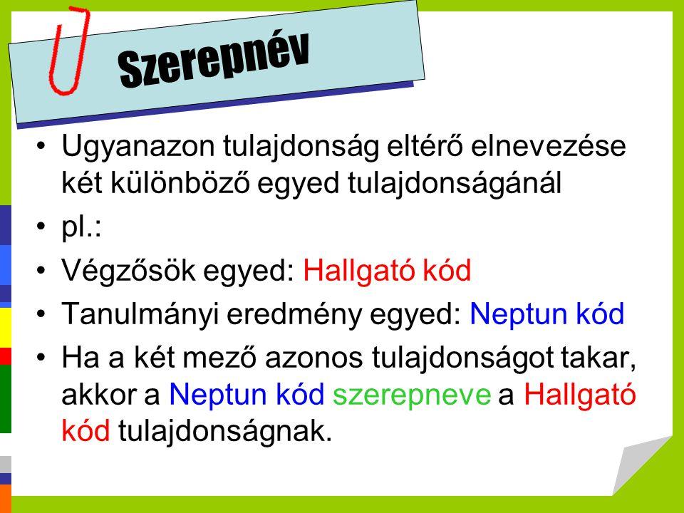 Szerepnév Ugyanazon tulajdonság eltérő elnevezése két különböző egyed tulajdonságánál. pl.: Végzősök egyed: Hallgató kód.