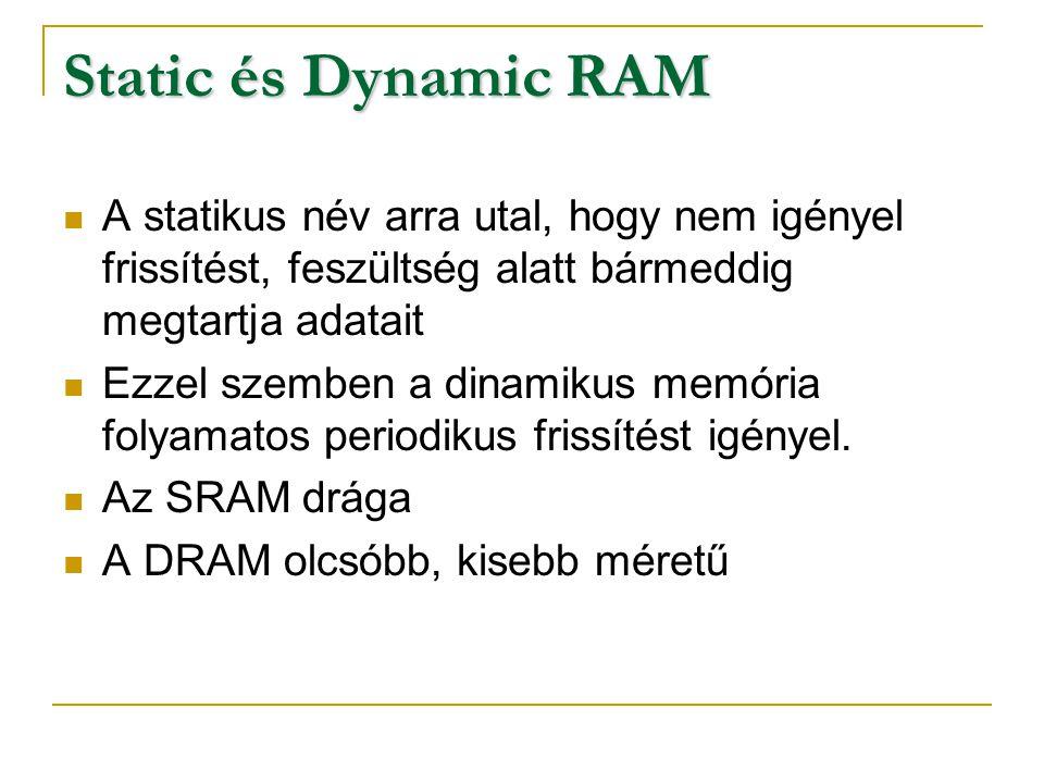 Static és Dynamic RAM A statikus név arra utal, hogy nem igényel frissítést, feszültség alatt bármeddig megtartja adatait.