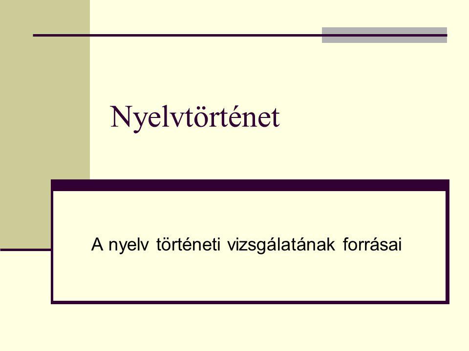 A nyelv történeti vizsgálatának forrásai