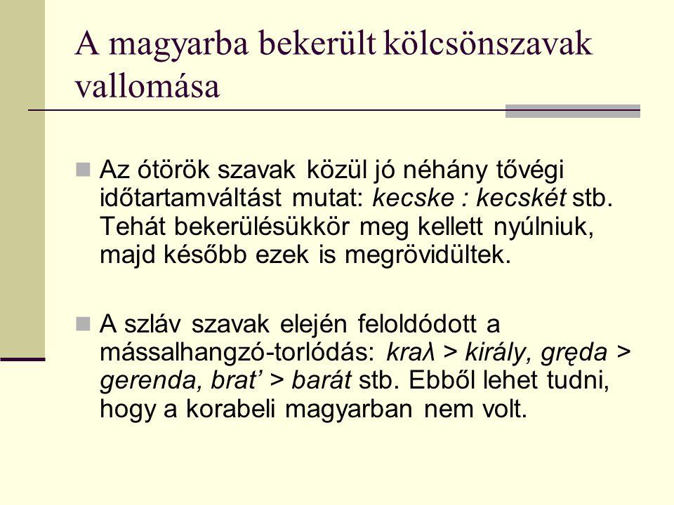 A magyarba bekerült kölcsönszavak vallomása