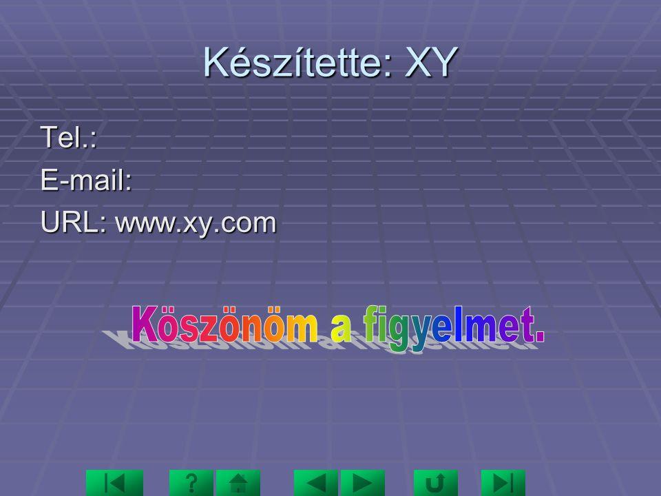 Készítette: XY Tel.: E-mail: URL: www.xy.com Köszönöm a figyelmet.