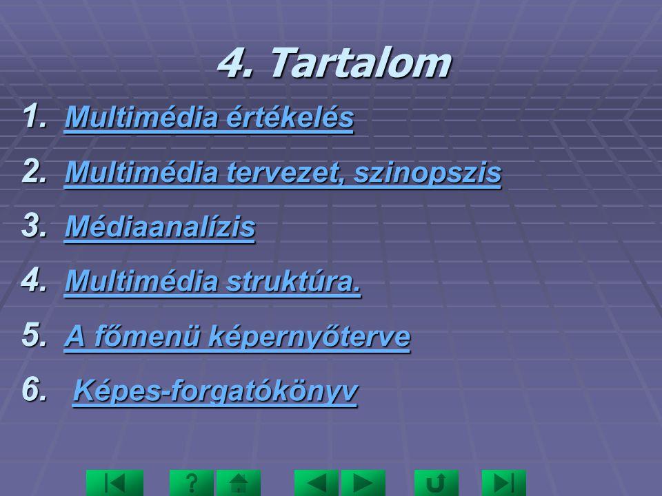 4. Tartalom Multimédia értékelés Multimédia tervezet, szinopszis