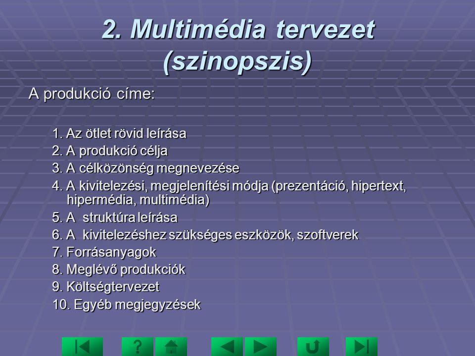 2. Multimédia tervezet (szinopszis)