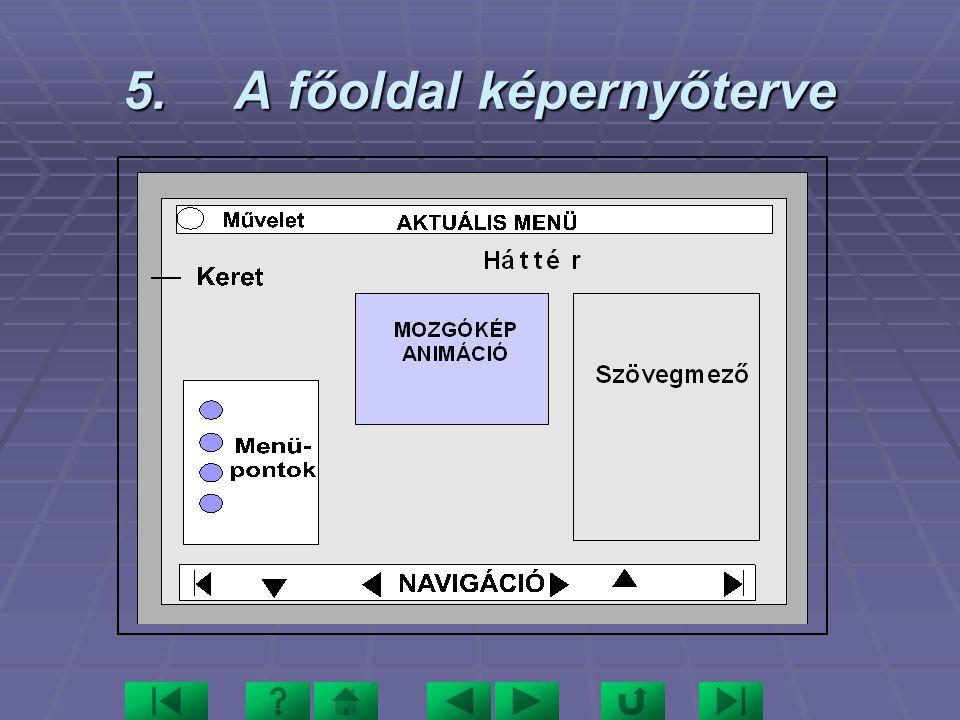 5. A főoldal képernyőterve