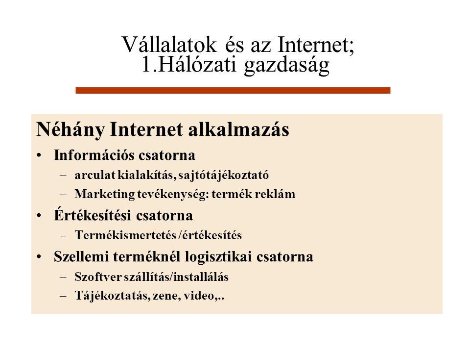 Vállalatok és az Internet; 1.Hálózati gazdaság
