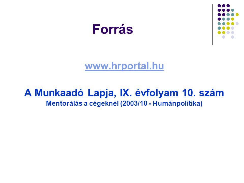 Forrás www.hrportal.hu A Munkaadó Lapja, IX. évfolyam 10. szám