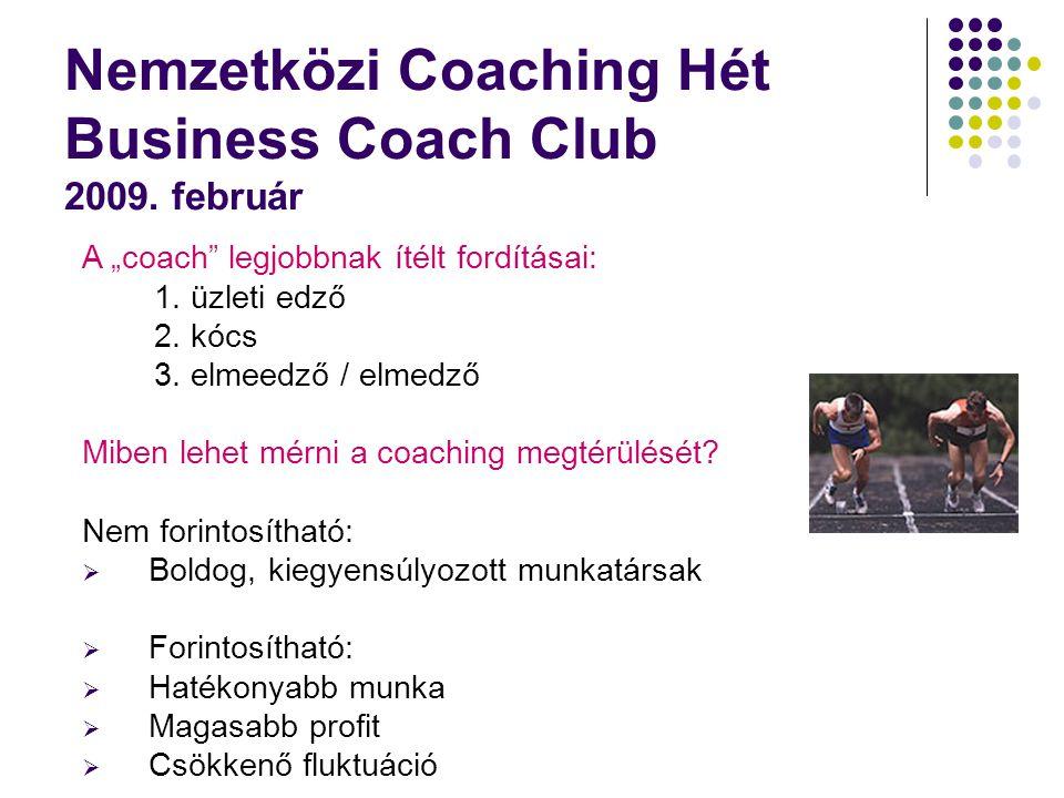 Nemzetközi Coaching Hét Business Coach Club 2009. február