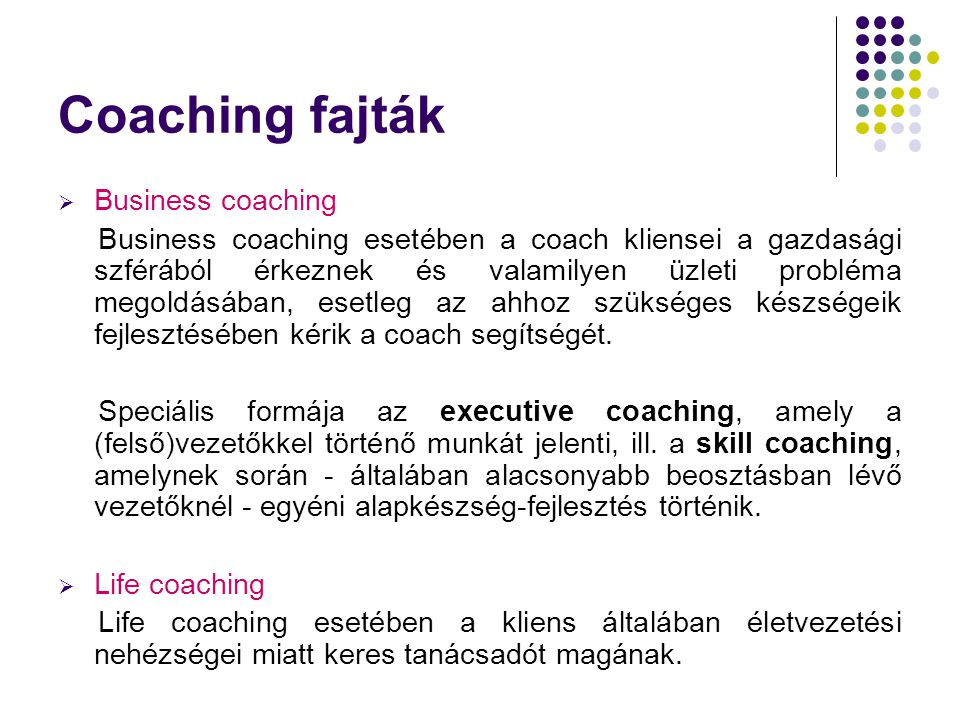 Coaching fajták Business coaching