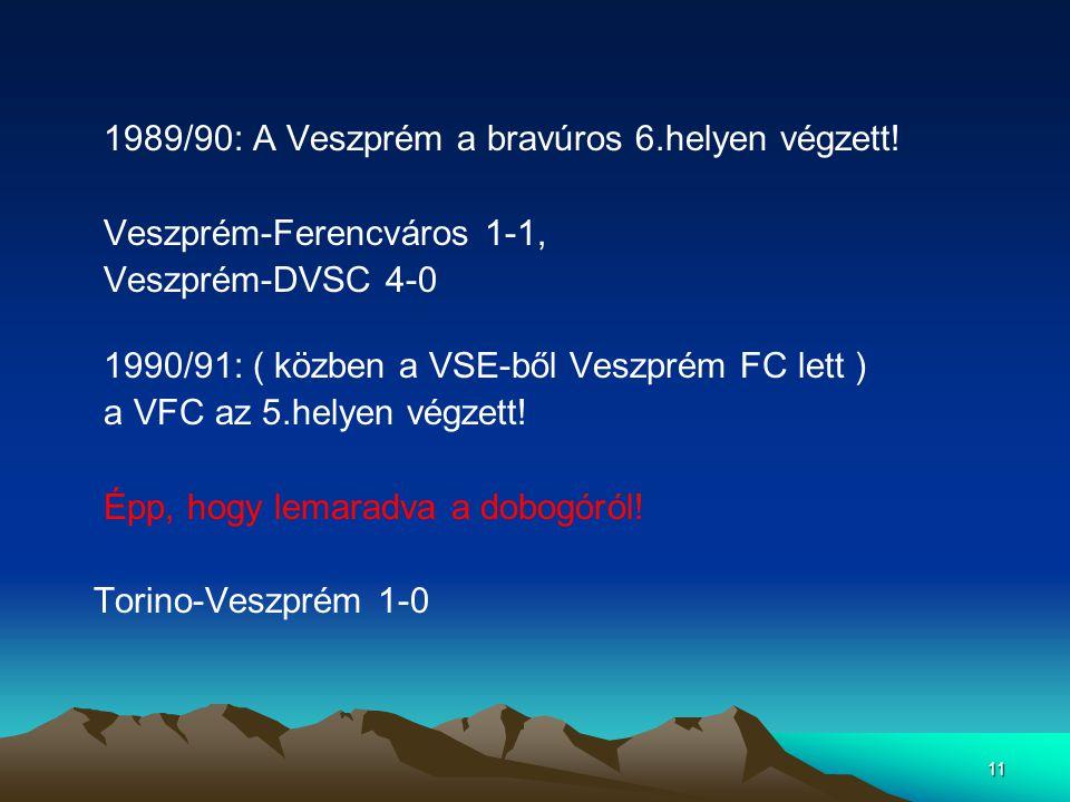 1989/90: A Veszprém a bravúros 6.helyen végzett!