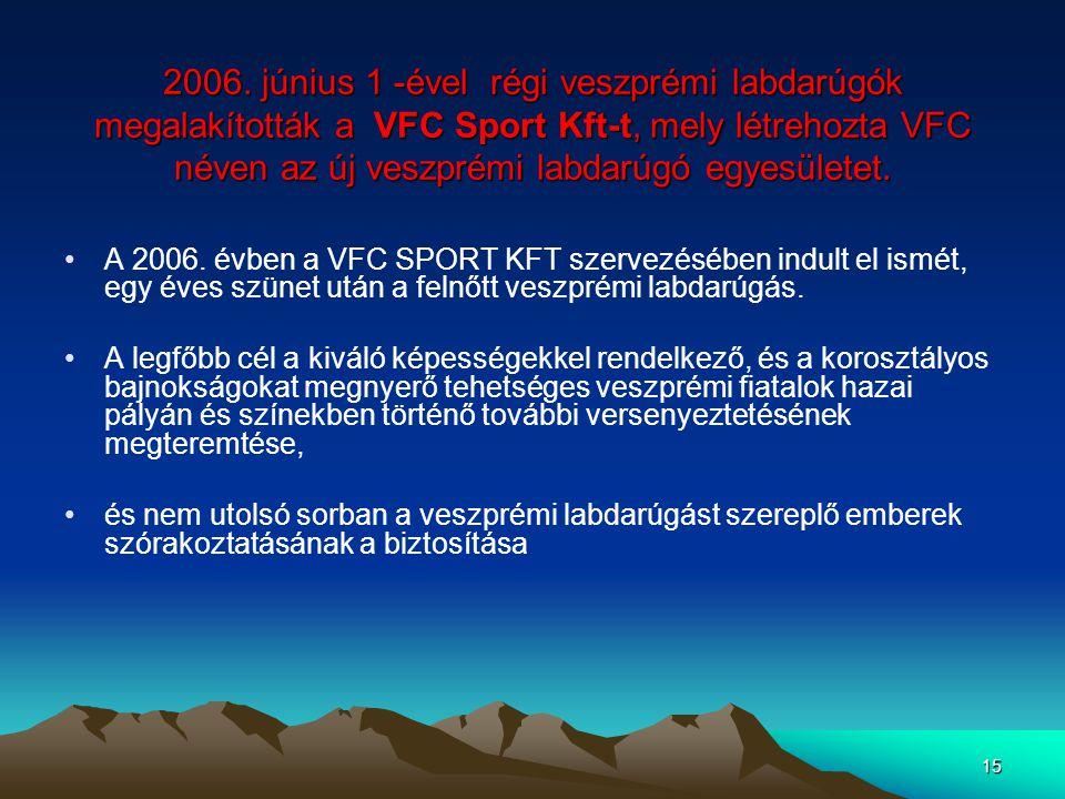 2006. június 1 -ével régi veszprémi labdarúgók megalakították a VFC Sport Kft-t, mely létrehozta VFC néven az új veszprémi labdarúgó egyesületet.