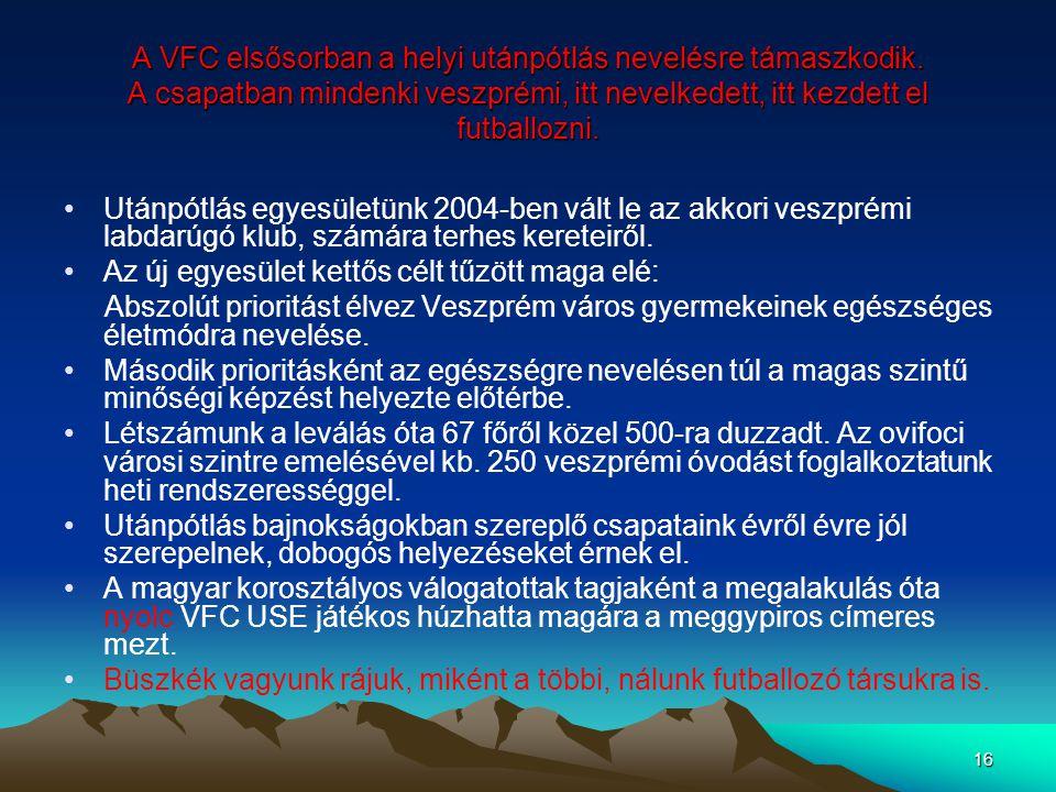 A VFC elsősorban a helyi utánpótlás nevelésre támaszkodik