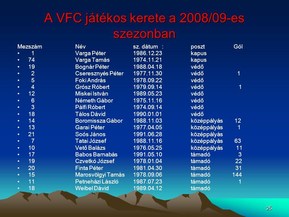A VFC játékos kerete a 2008/09-es szezonban