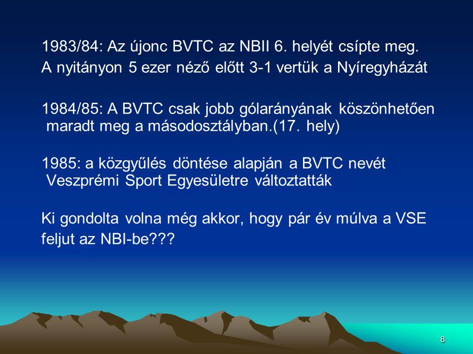 1983/84: Az újonc BVTC az NBII 6. helyét csípte meg.