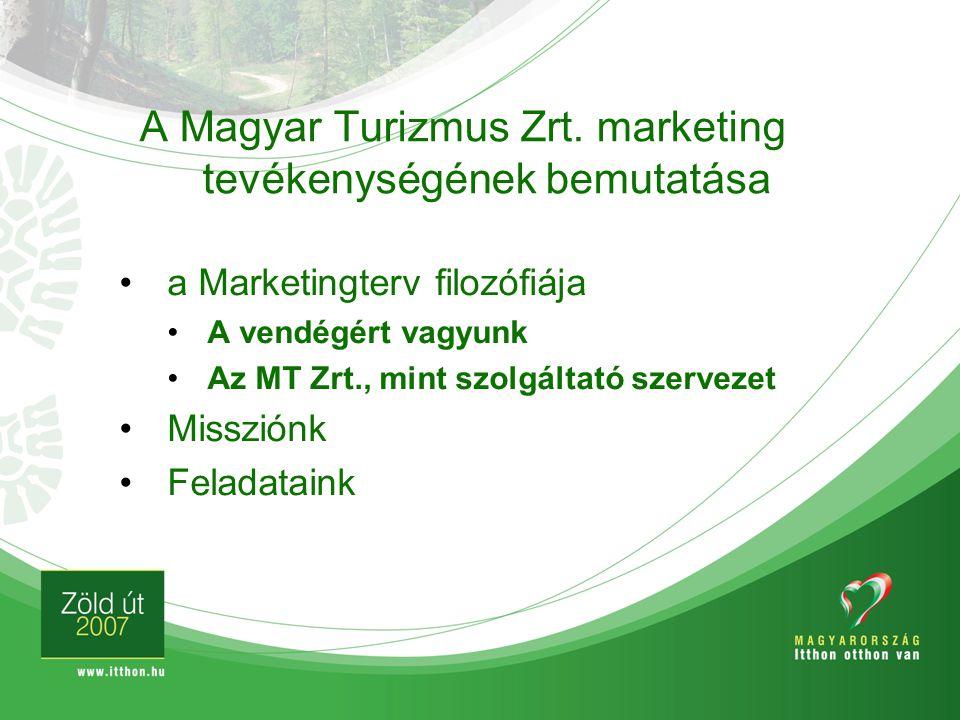 A Magyar Turizmus Zrt. marketing tevékenységének bemutatása