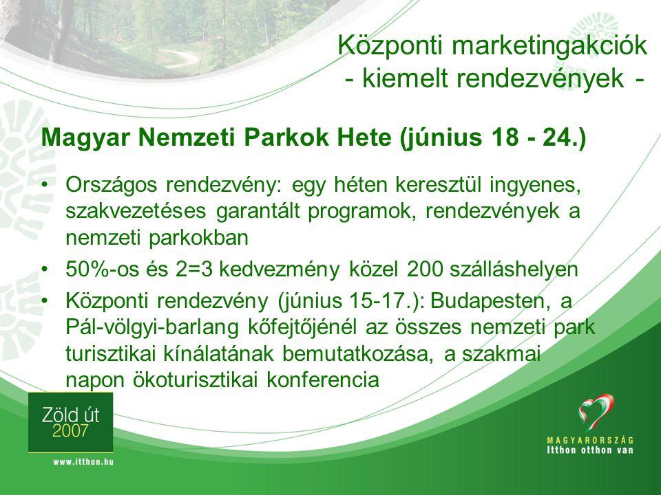 Központi marketingakciók - kiemelt rendezvények -