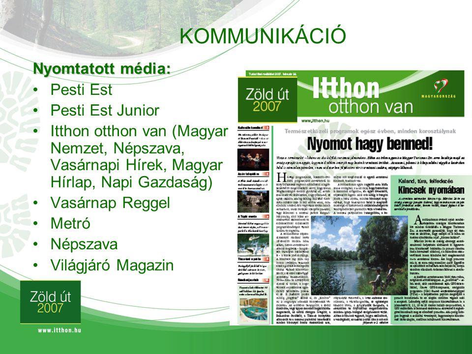 KOMMUNIKÁCIÓ Nyomtatott média: Pesti Est Pesti Est Junior
