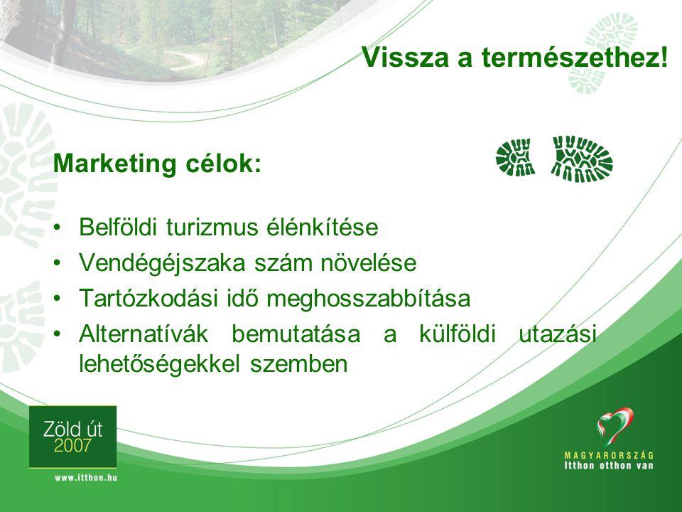 Vissza a természethez! Marketing célok: Belföldi turizmus élénkítése