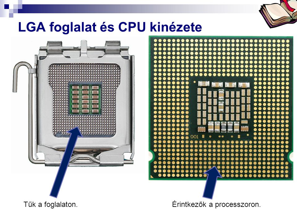 LGA foglalat és CPU kinézete