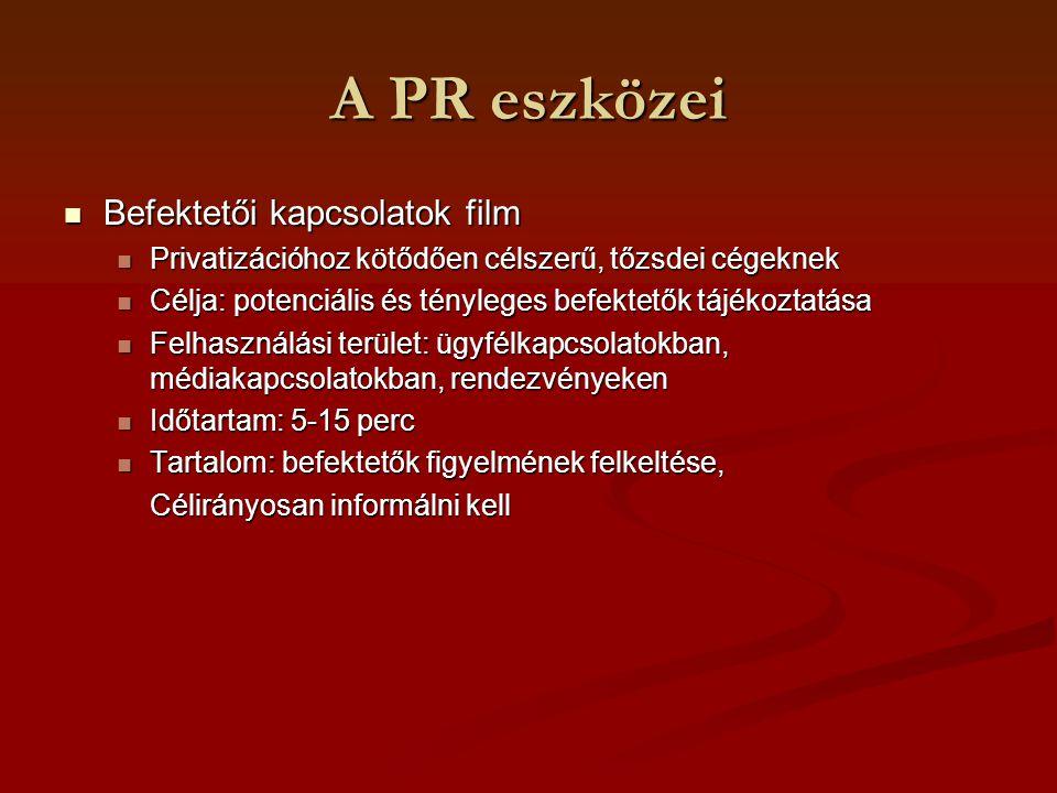 A PR eszközei Befektetői kapcsolatok film