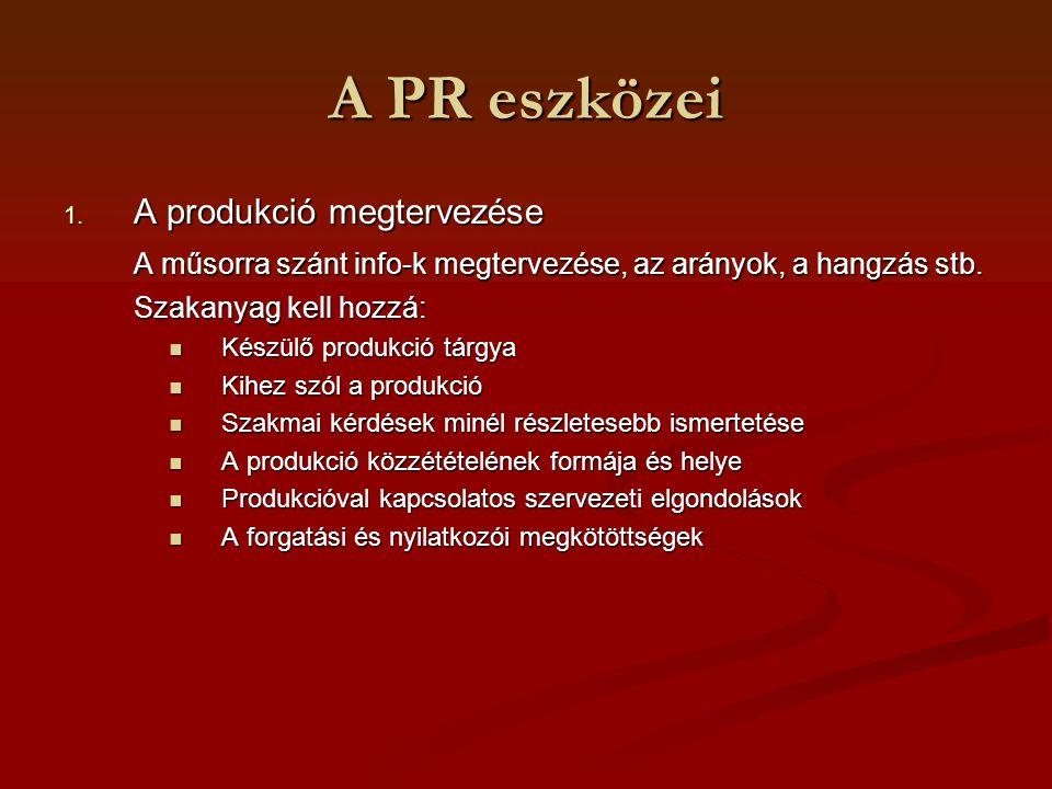 A PR eszközei A produkció megtervezése