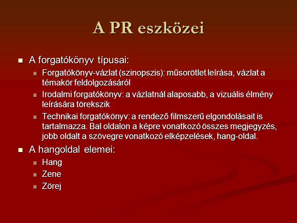 A PR eszközei A forgatókönyv típusai: A hangoldal elemei: