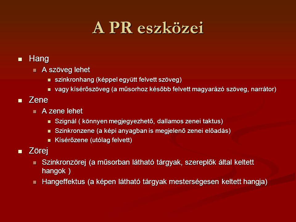 A PR eszközei Hang Zene Zörej A szöveg lehet A zene lehet