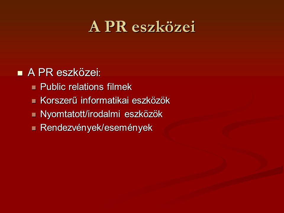 A PR eszközei A PR eszközei: Public relations filmek