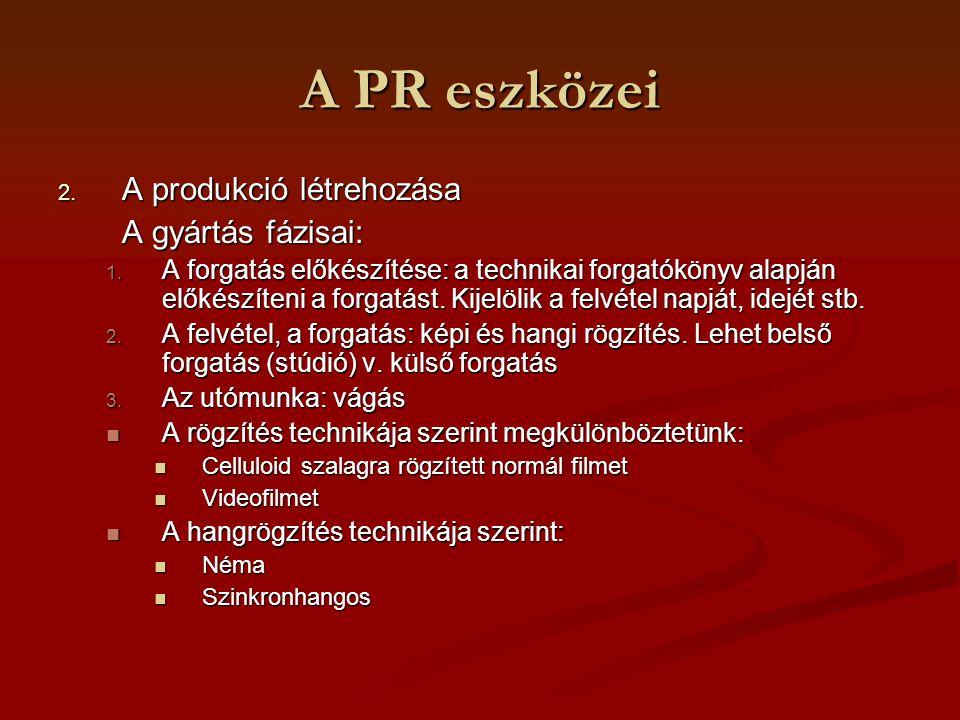 A PR eszközei A produkció létrehozása A gyártás fázisai: