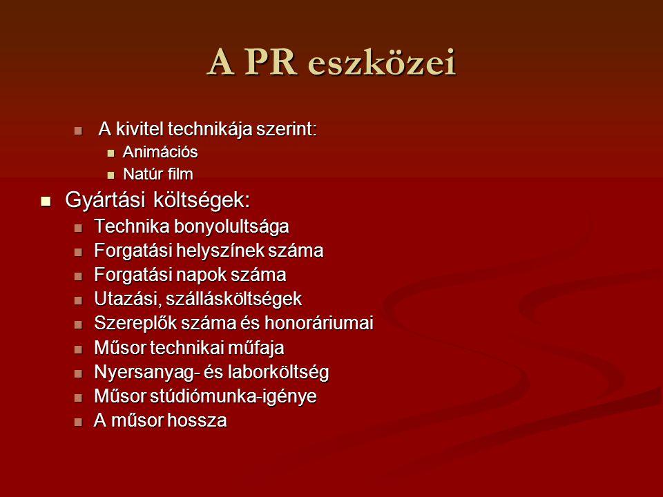 A PR eszközei Gyártási költségek: A kivitel technikája szerint: