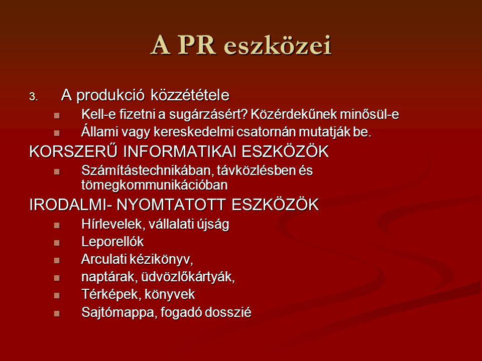 A PR eszközei A produkció közzététele KORSZERŰ INFORMATIKAI ESZKÖZÖK