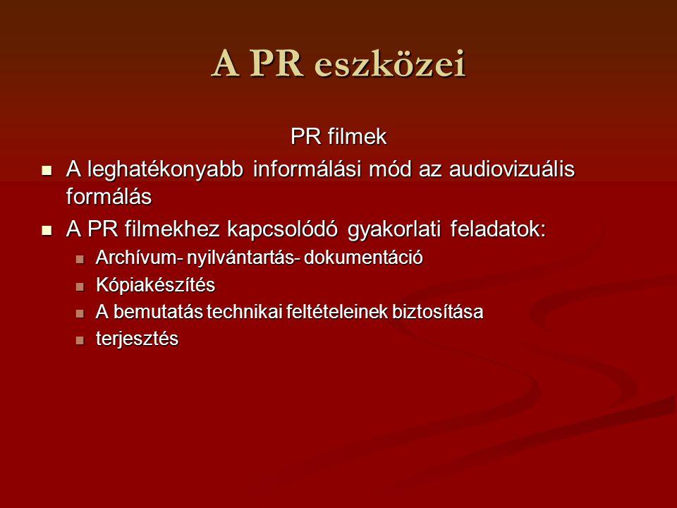 A PR eszközei PR filmek. A leghatékonyabb informálási mód az audiovizuális formálás. A PR filmekhez kapcsolódó gyakorlati feladatok: