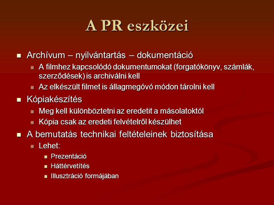 A PR eszközei Archívum – nyilvántartás – dokumentáció Kópiakészítés
