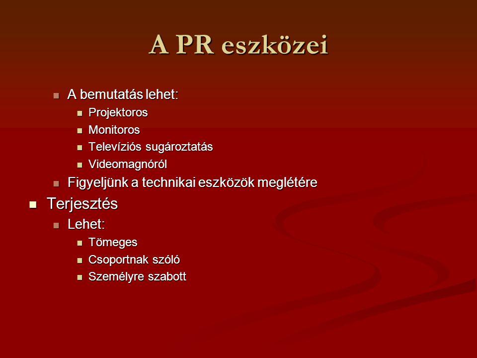 A PR eszközei Terjesztés A bemutatás lehet:
