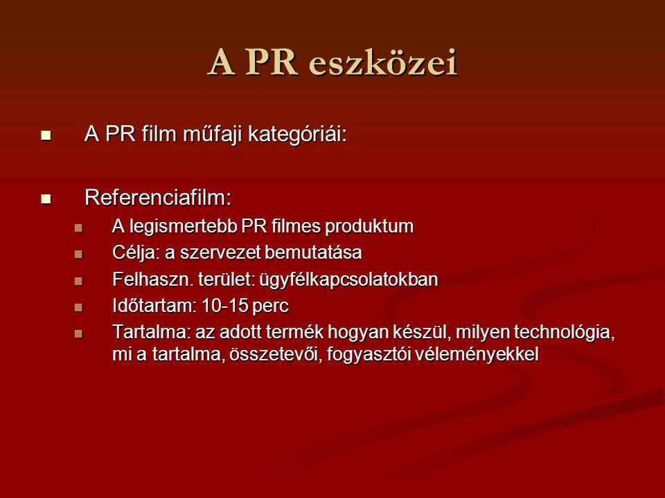 A PR eszközei A PR film műfaji kategóriái: Referenciafilm:
