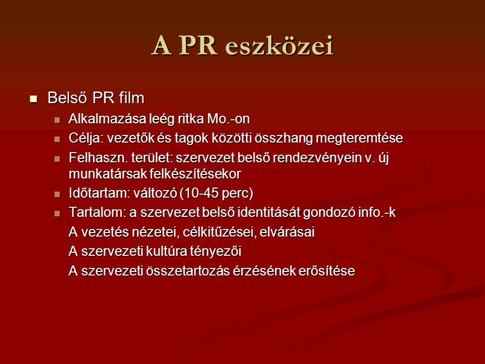A PR eszközei Belső PR film Alkalmazása leég ritka Mo.-on