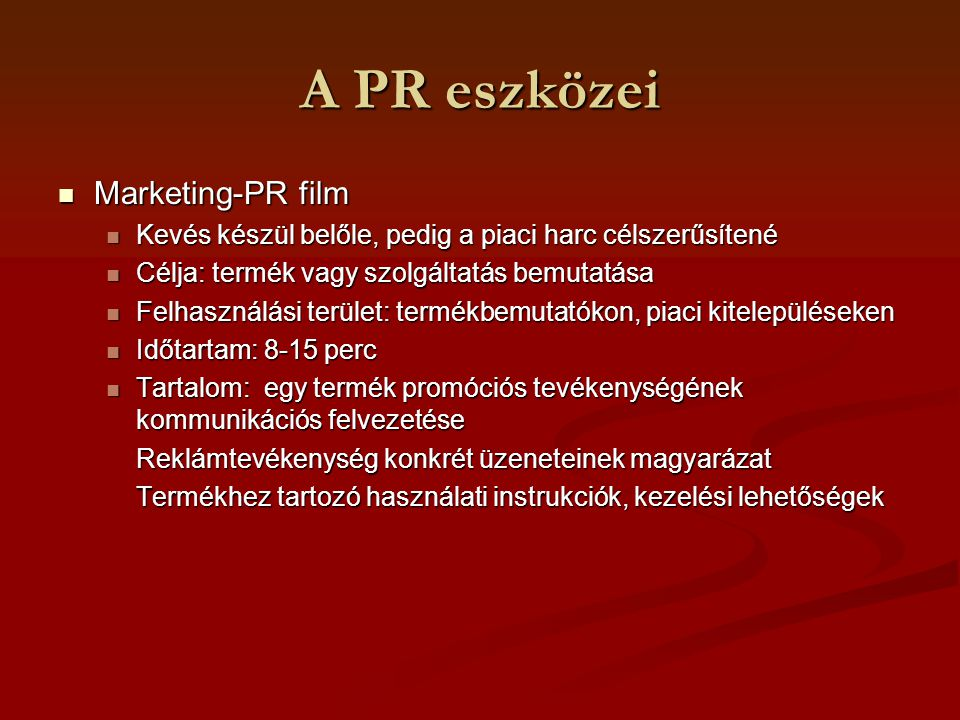 A PR eszközei Marketing-PR film
