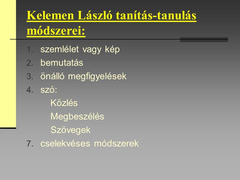 Kelemen László tanítás-tanulás módszerei: