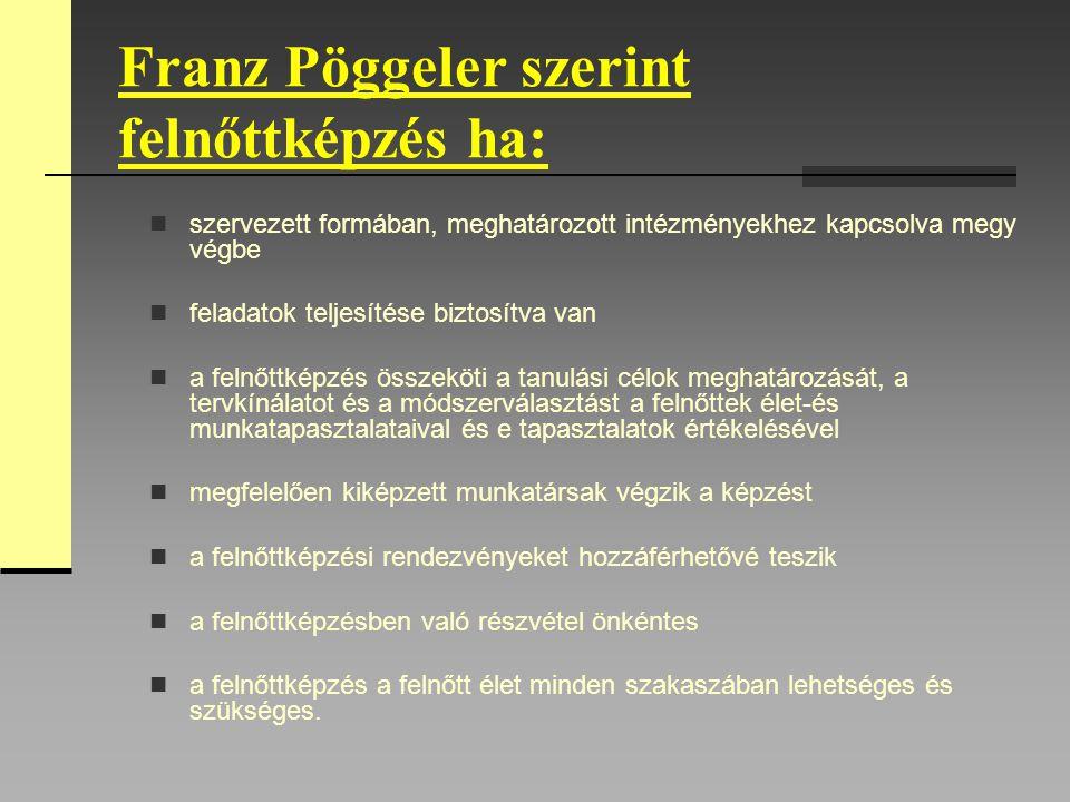 Franz Pöggeler szerint felnőttképzés ha: