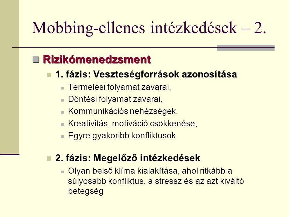 Mobbing-ellenes intézkedések – 2.
