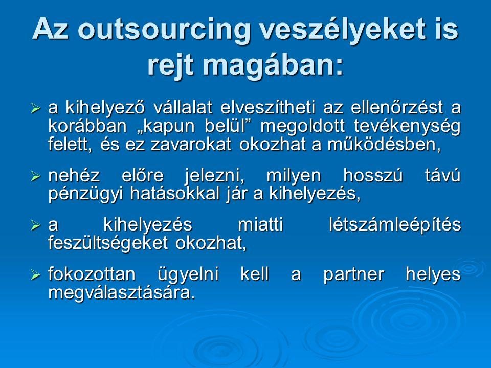 Az outsourcing veszélyeket is rejt magában: