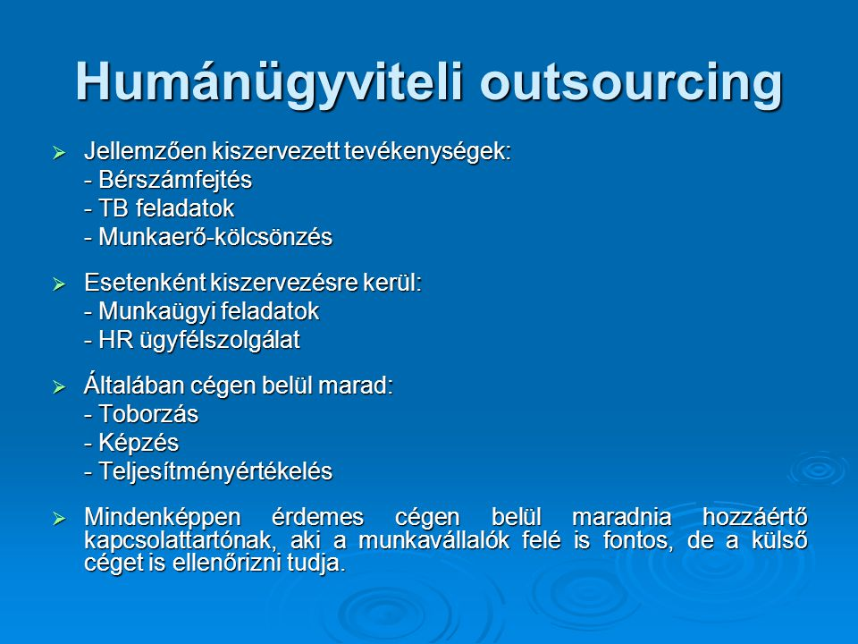 Humánügyviteli outsourcing