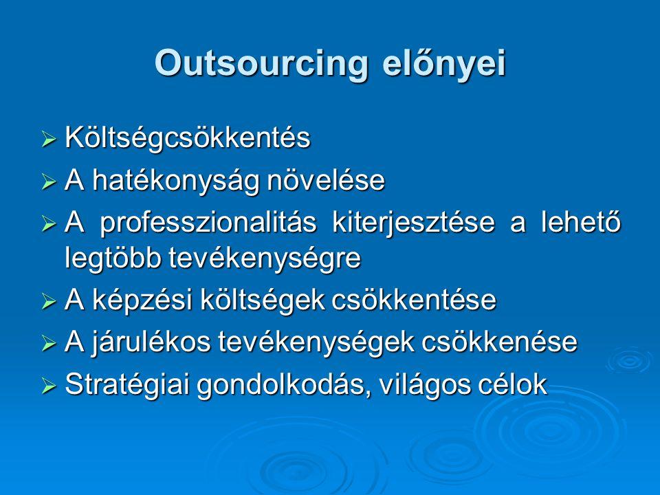 Outsourcing előnyei Költségcsökkentés A hatékonyság növelése