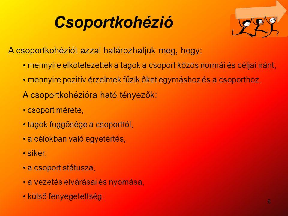 Csoportkohézió A csoportkohéziót azzal határozhatjuk meg, hogy: