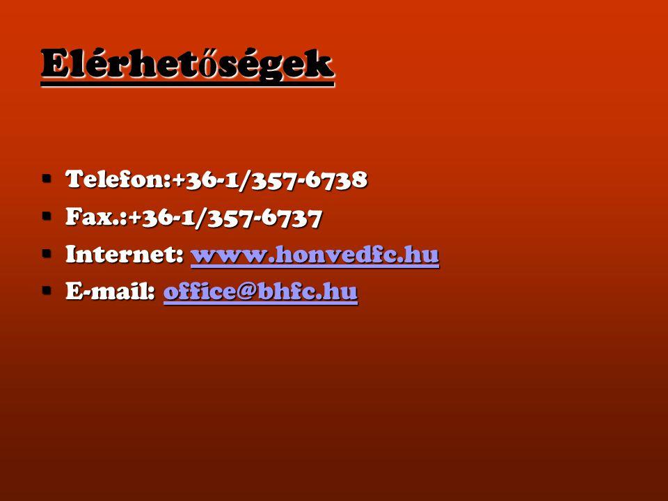 Elérhetőségek Telefon:+36-1/357-6738 Fax.:+36-1/357-6737