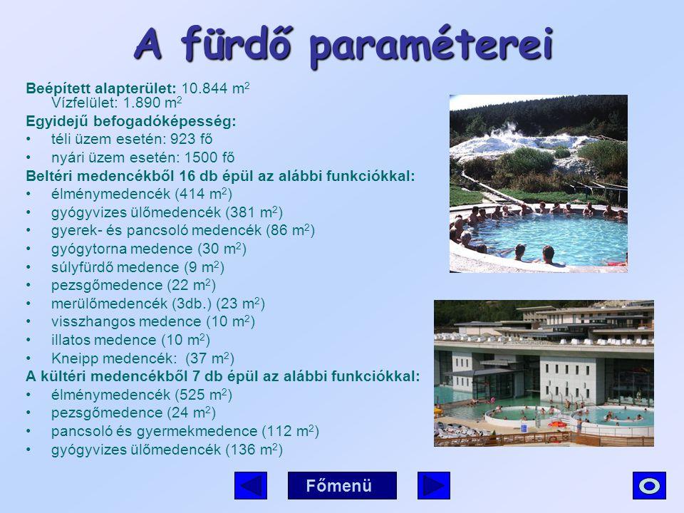 A fürdő paraméterei Főmenü